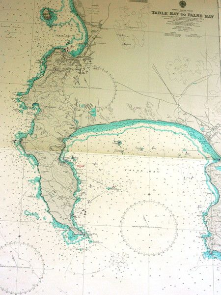 Table bay to false bay south africa vintage nautical chart decor