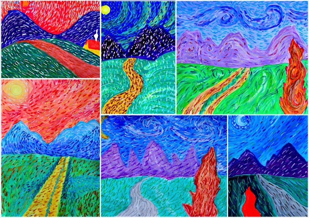 Paesaggio a tecnica mista ispirato a van gogh quadri e for Ciao bambini van gogh