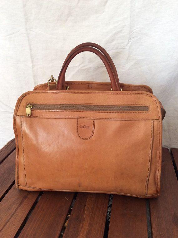 All Leather Vintage Genuine Hartmann Tan Briefcase Messenger Bag Travel In Great Worn Patina