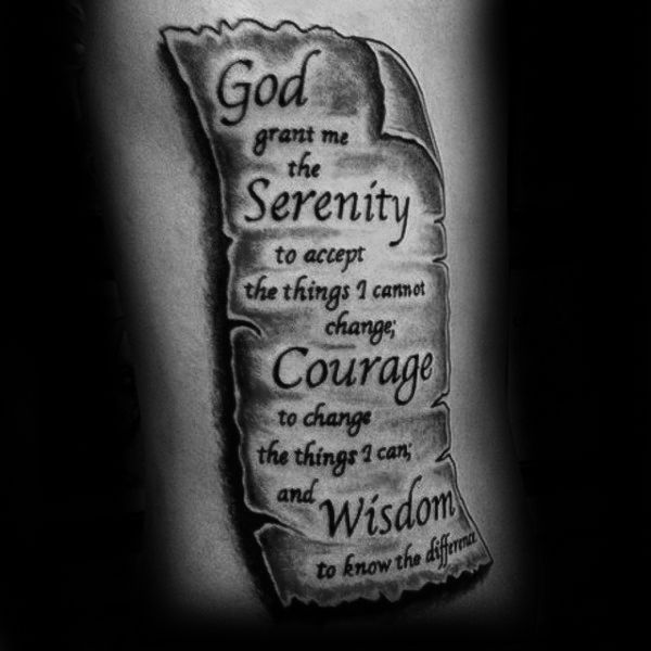 Shoulder Tattoo Quote Ribcage Serenity Prayer