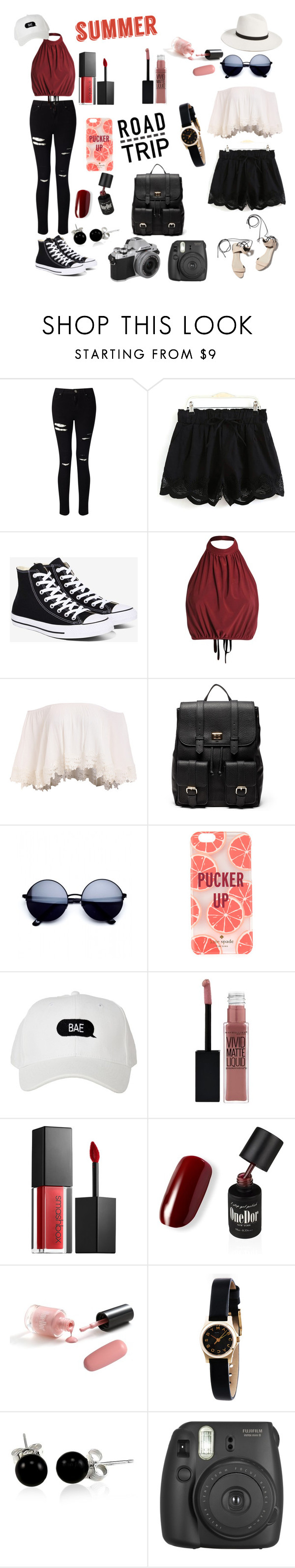 """""""SUMMER ROADTRIP"""" by rapperdancer ❤ liked on Polyvore featuring Miss Selfridge, 3.1 Phillip Lim, Converse, Sole Society, Kate Spade, Maybelline, Smashbox, Marc by Marc Jacobs, Bling Jewelry and Janessa Leone"""