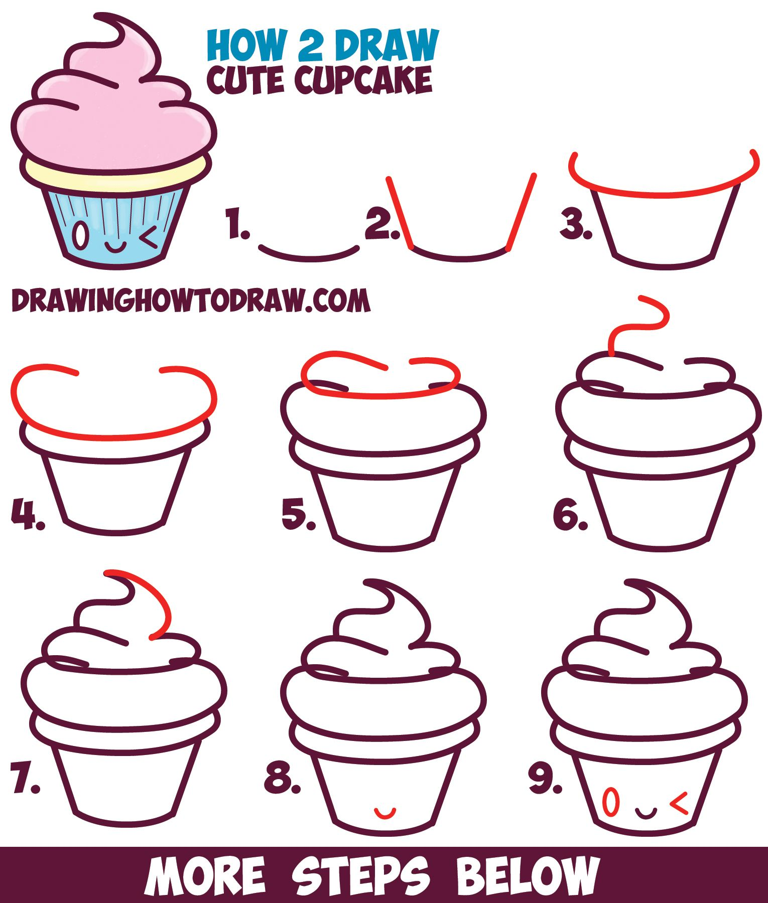 how to draw cute kawaii cupcake with face on it easy