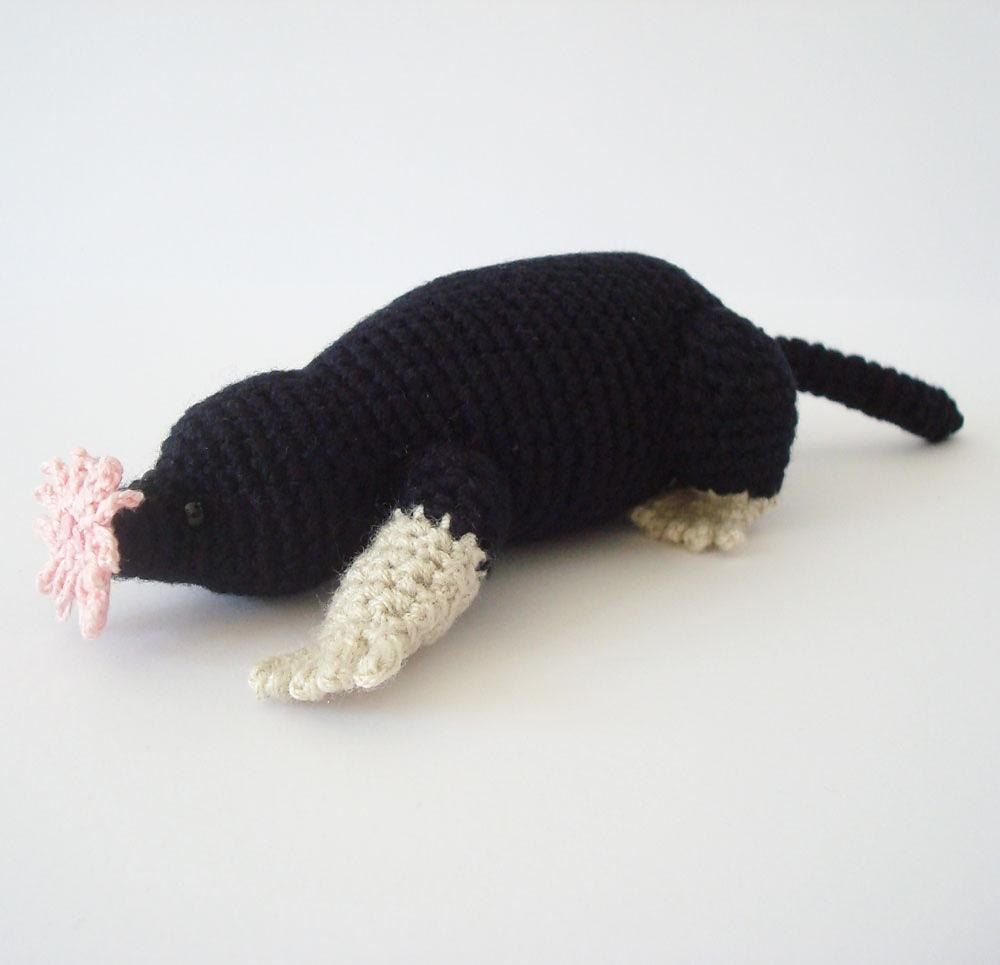 This listing is for an Adobe Pdf file of a crochet pattern for a Star Nosed Mole. Please note that this is a pattern only, the finished item is not included.The pattern is crocheted in a continuous spiral and requires knowledge of the following stitches (including increases and decreases): chain, slip stitch, single crochet, half double crochet, and double crochet.Item size will depend on the weight of yarn used. The sample was crocheted with Red Heart Luster Sheen, which is a sports fine…