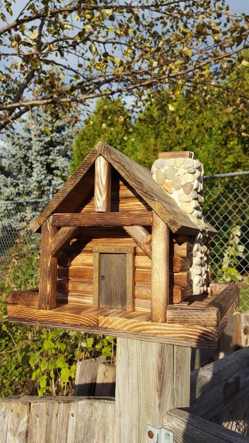 Bird Feeder Log Cabin Style With Stone Chimney Etsy Cool Bird Houses Stone Cabin Cabin Style