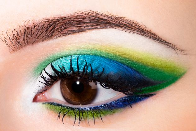 Blue and green eye makeup on brown eyes