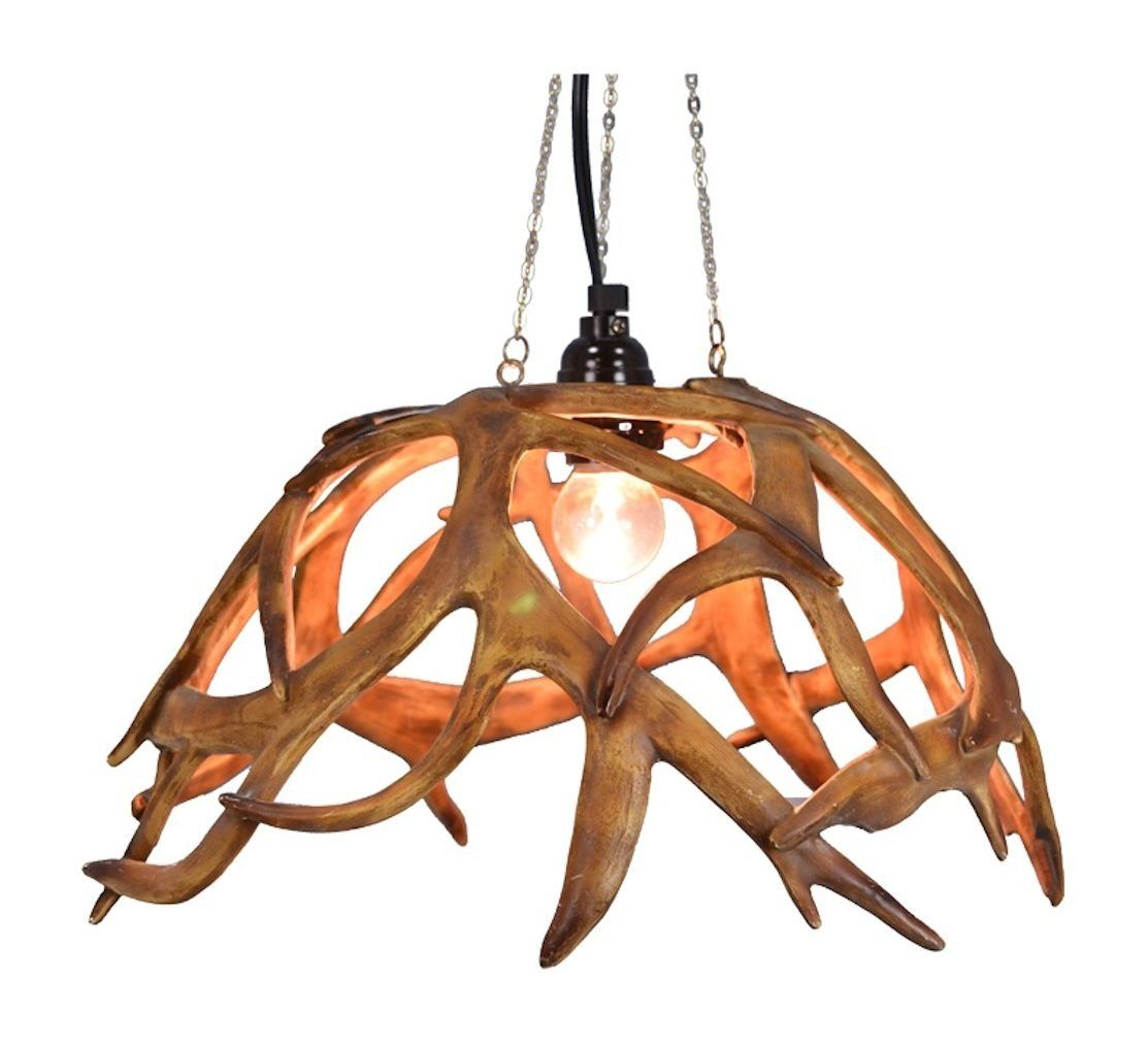 Lodge and lake antler chandelier 15 in x 9 12 in lamp light antler inspired design in a hanging chandelier lamp a fitting addition to any lake lodge or camp design dcor standard light bulb fixture with bulb aloadofball Image collections