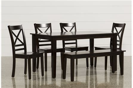 Room Wendy Espresso 6 Piece Rectangle Dining Set W Bench