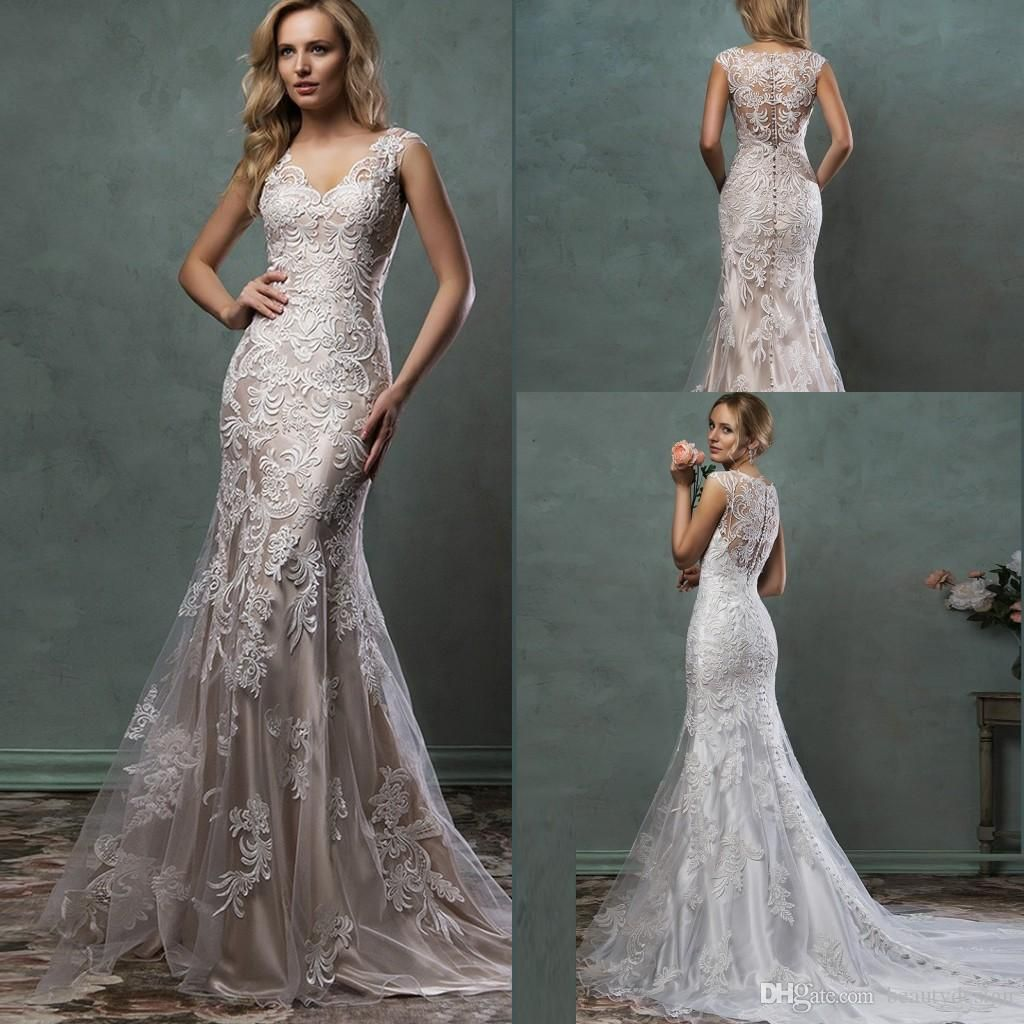 Mermaid lace wedding dress  Cheap  New Sleeveless Mermaid Sheath Formal Wedding Dresses
