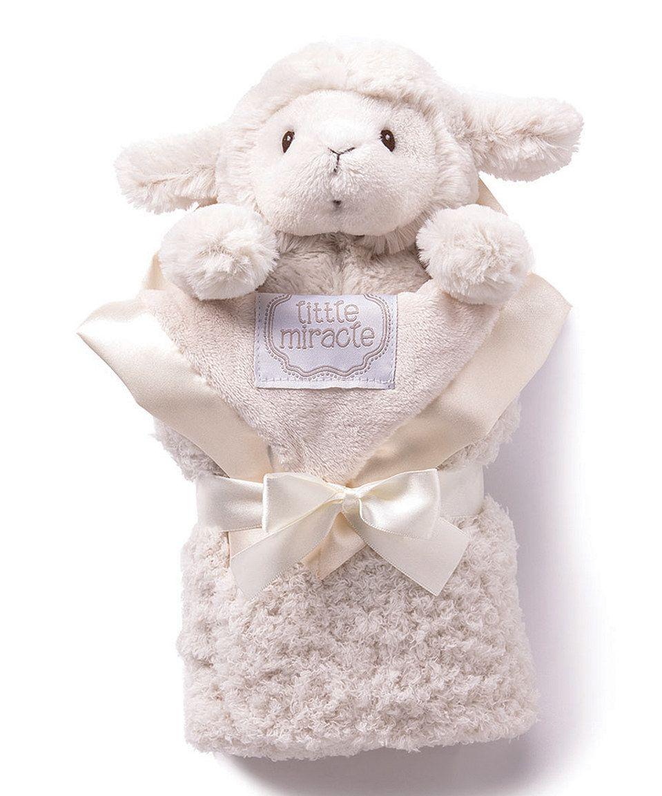This kathy ireland 16'' x 16'' Cream Blanket & Lamb Plush