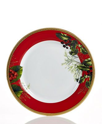 An Instant Classic The Red Rim Accent Plate Combines Bands Of Holiday Red And Filigree Patterned Gold Christmas Tableware Christmas Dinnerware Christmas China