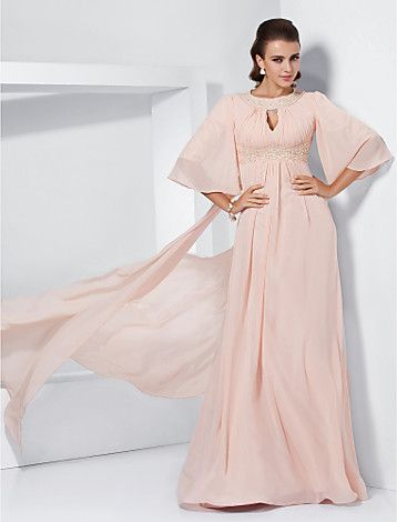 A-line Jewel Sweep/Brush Train Chiffon Evening Dress inspired by Melissa McCarthy at the 84th Oscar - USD $ 199.99
