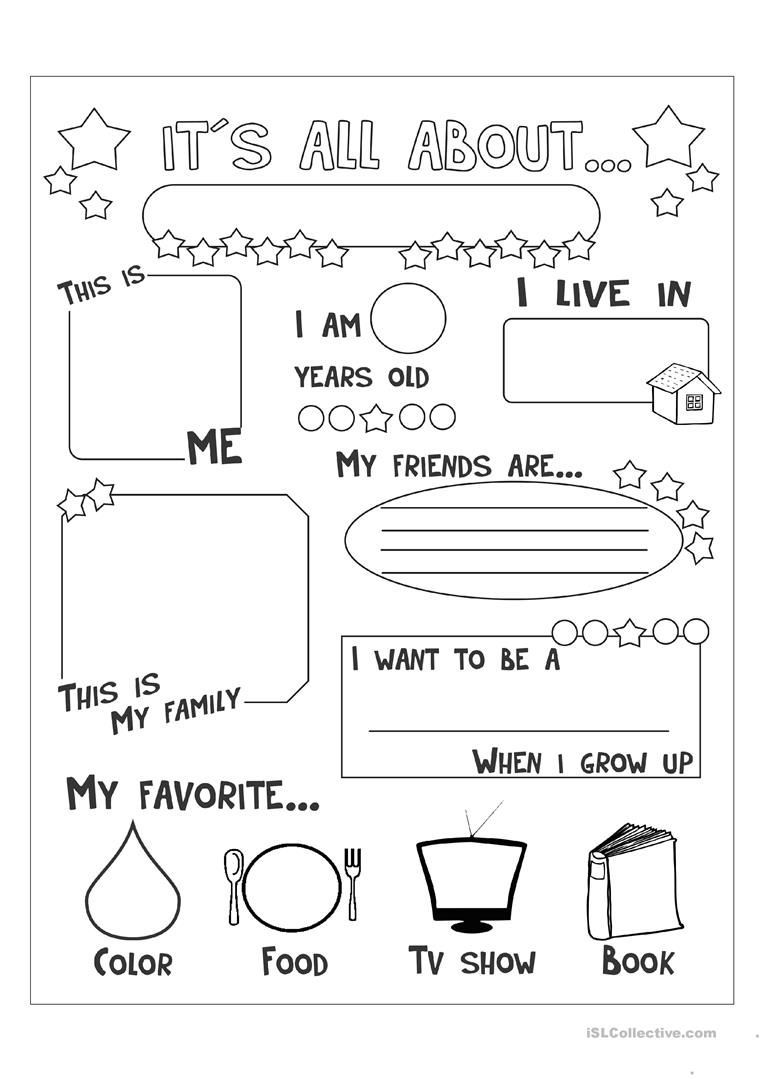 photograph about All About Me Printable Worksheets named all pertaining to me worksheet - Totally free ESL printable worksheets intended