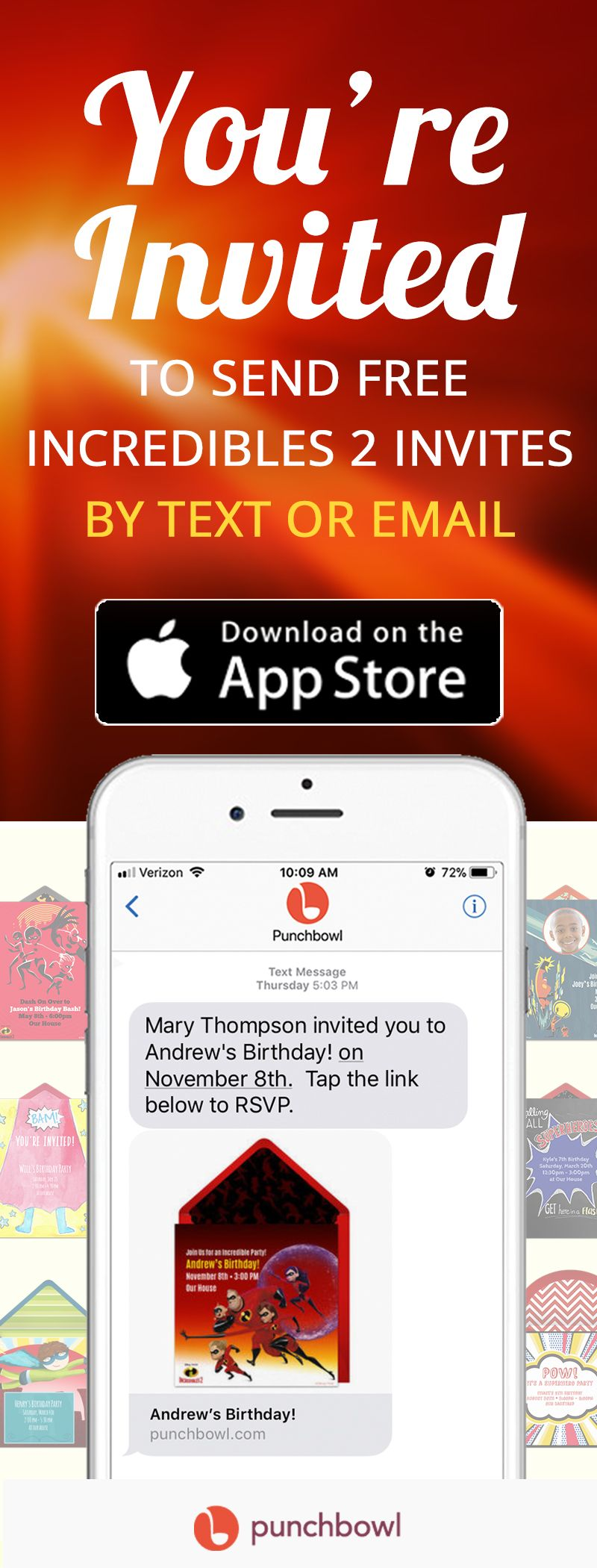 Send free Incredibles 2 invitations by text message right