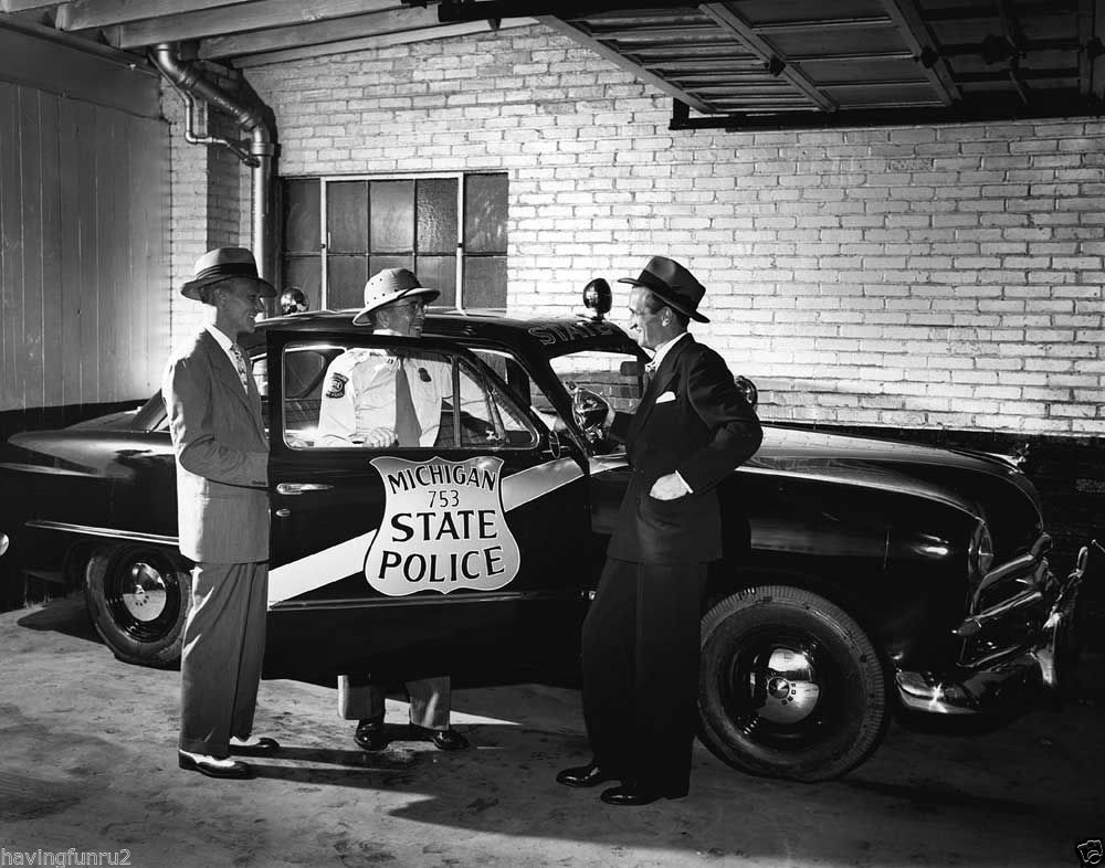 Michigan State police taking ownership  of 1949 ford 8 x 10 photograph