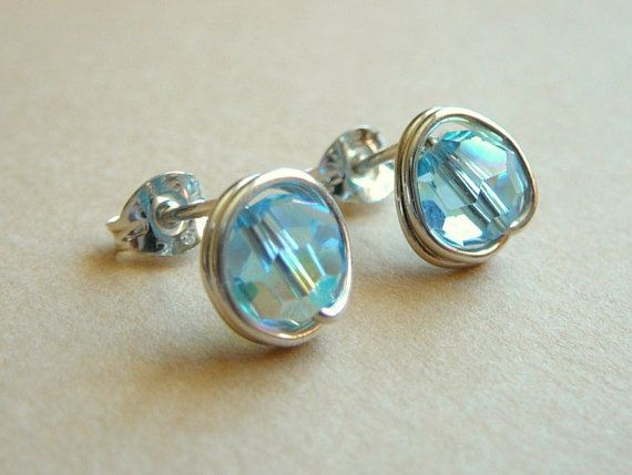 Aquamarine Swarovski Crystal Post Earrings 9mm Serling Silver Stud March Birthday Free Shipping To Canada And Usa