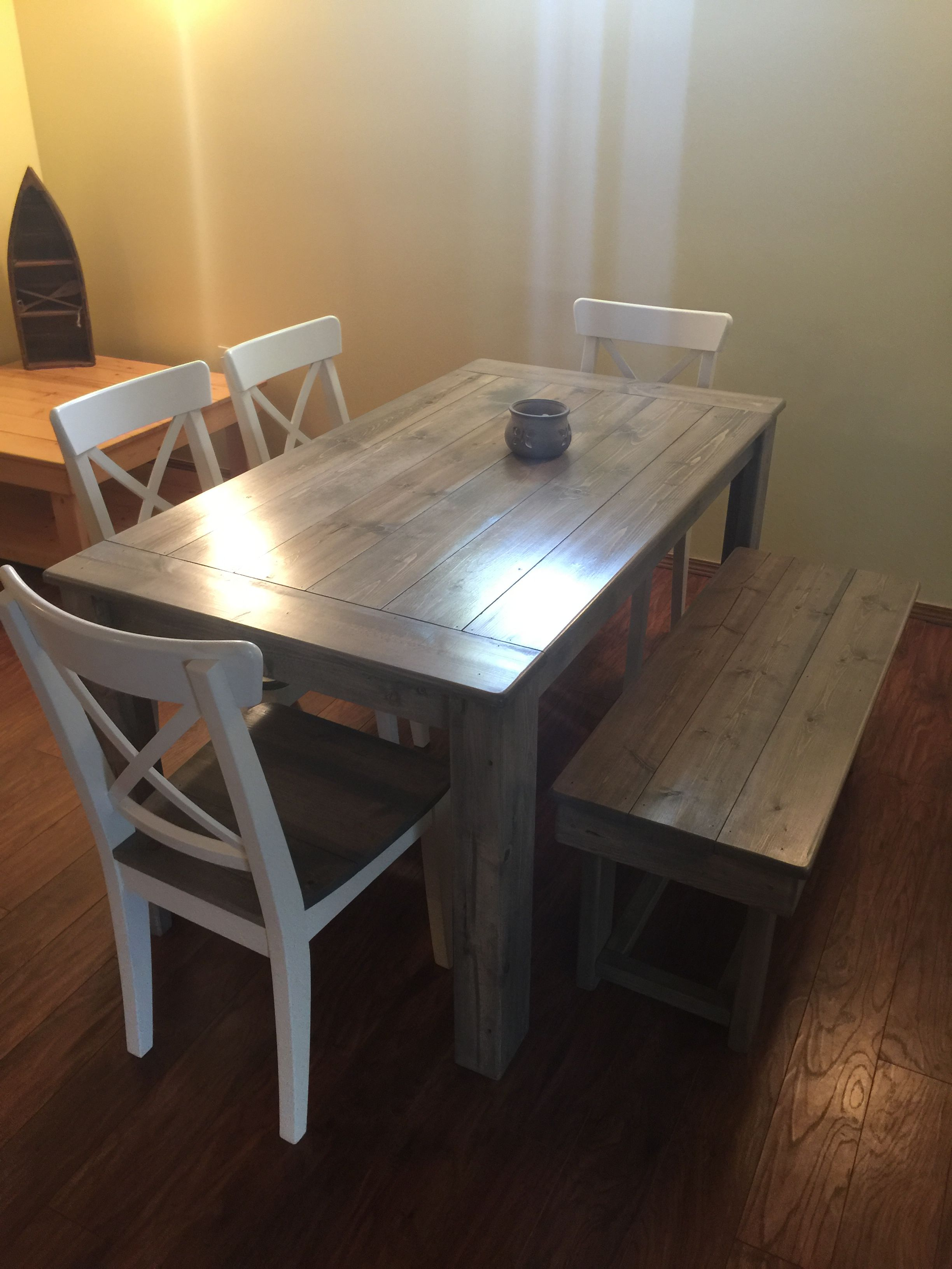 5ft Harvest Table And Chairs In The Special Grey Stain