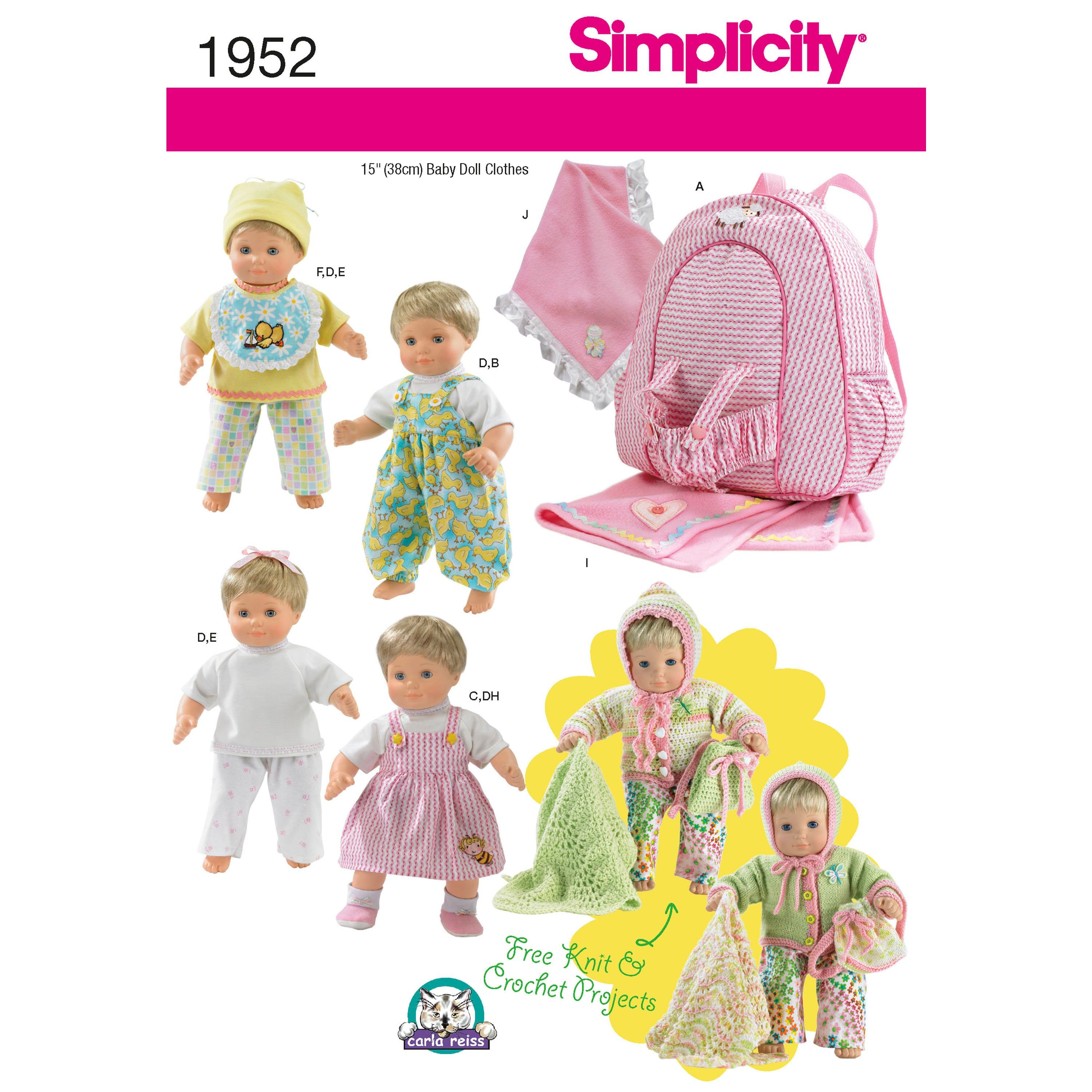 Sewing Pattern 15 Inch Baby Doll Clothes Pattern 15 Inch Doll Baby Clothes Pattern Doll Carrier Pattern Simplicity Sewing Pattern 1952 Baby Doll Clothes Patterns Baby Doll Clothes Bitty Baby Clothes