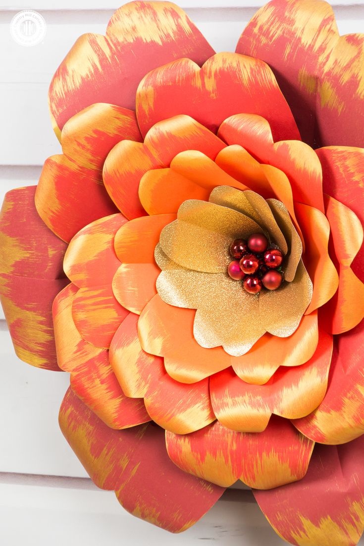 Red And Gold Paper Flowers With A Printable Template We Re