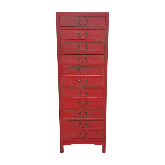 Red Asian Chinese Extra Tall Dresser Vintage Chinese Dresser