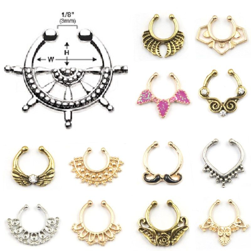 New Design Crystal Fake Nose Ring Hoop Ring Clip Body Jewelry Fake ...