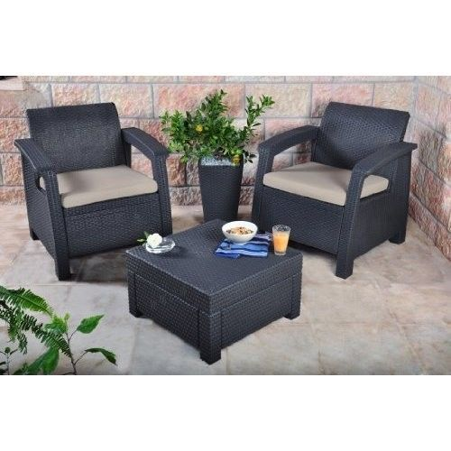 c7680697a58 Outdoor Garden Furniture Set 2 Seater Table Rattan Balcony Garden Wicker  Patio