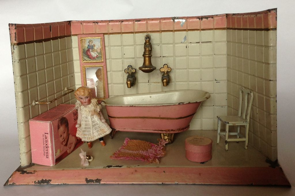 Antique German tin bathroom with all-bisque doll and accessories ...