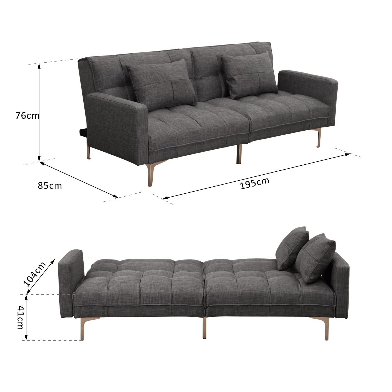 Best Homcom Multifunctional Fabric Sofa Bed Light Grey Sofa 640 x 480