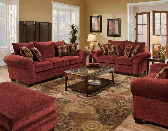 Burgundy Living Room furniture | Color: Burgundy Home ...