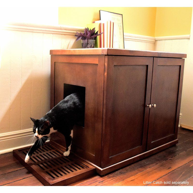 Cathey Wooden Litter Box Cabinet Cat Litter Box Furniture Litter Box Enclosure Litter Box Furniture