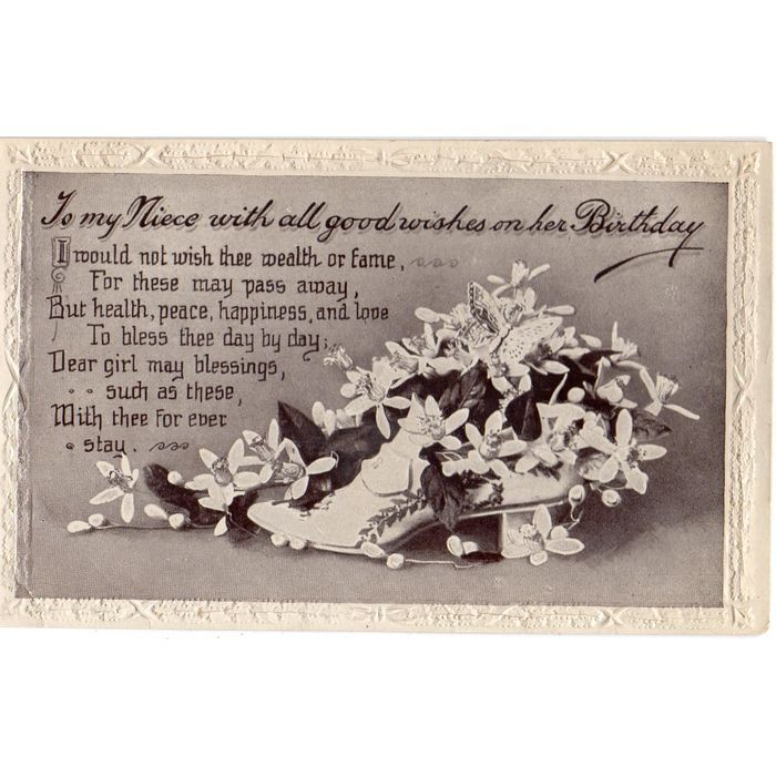 Victorian Song Postcard Shoe To My Niece With All Good