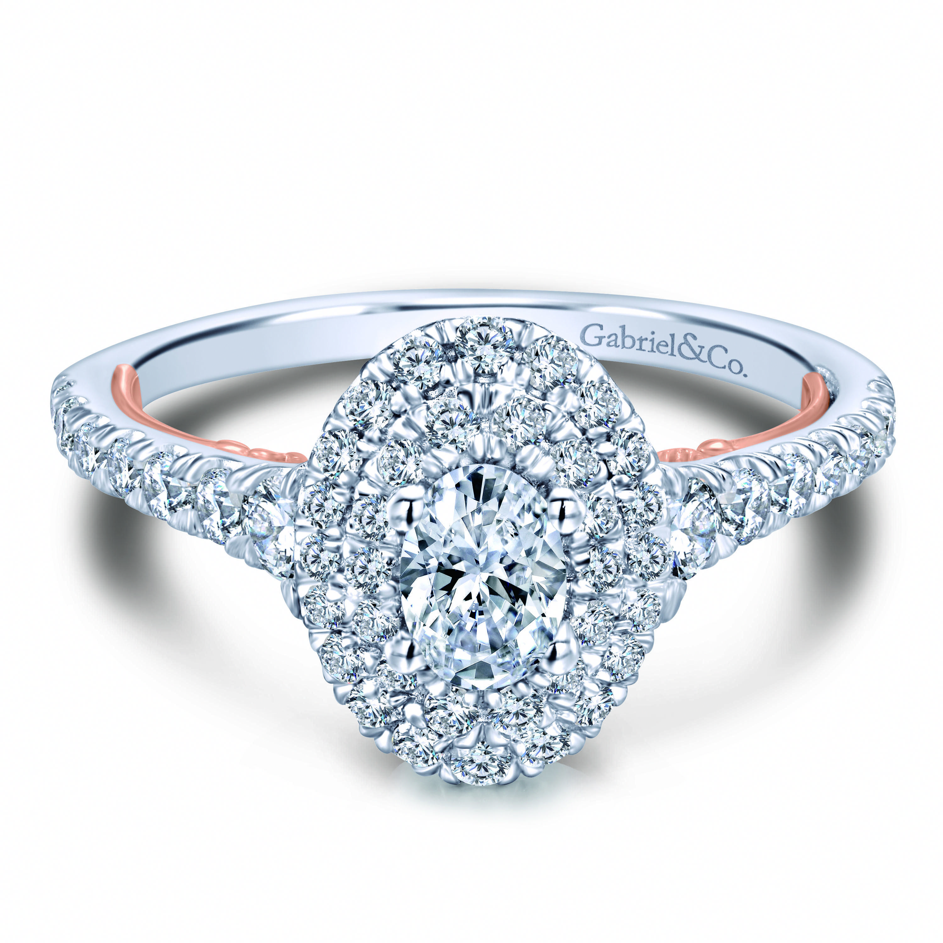 5760fa8c8cfb8 Preset 14k White/Rose Gold Oval Double Halo Diamond Engagement Ring ...