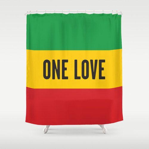 Bob Marley One Love Lyric Shower Curtain Reggae By Thingsthatsing