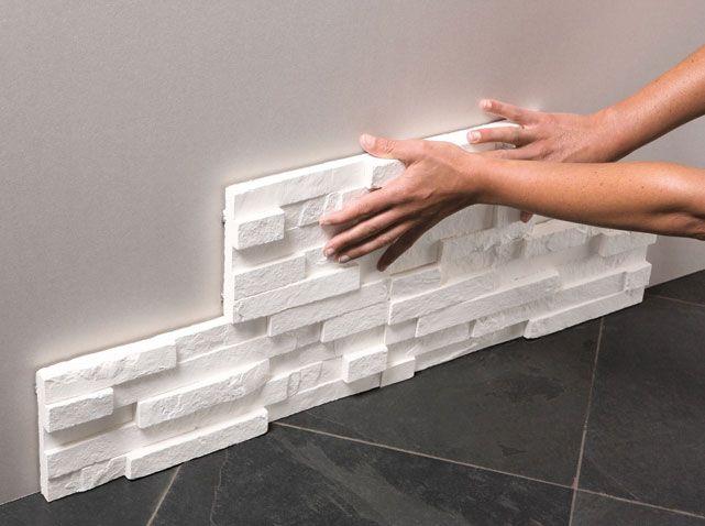 Décoration en plâtre : des nouveaux modèles | Briquette de parement, Mur en pierre interieur ...
