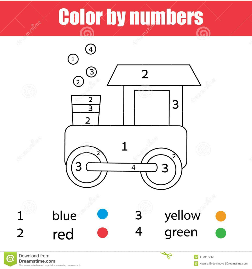 Coloring Page With Toy Train Color By Educational Games For Kids Color By Numbers Coloring Pages