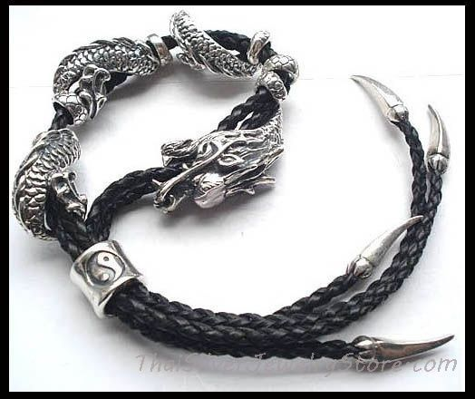 Handmade Thai 925 Silver Leather Dragon Bracelet For Men