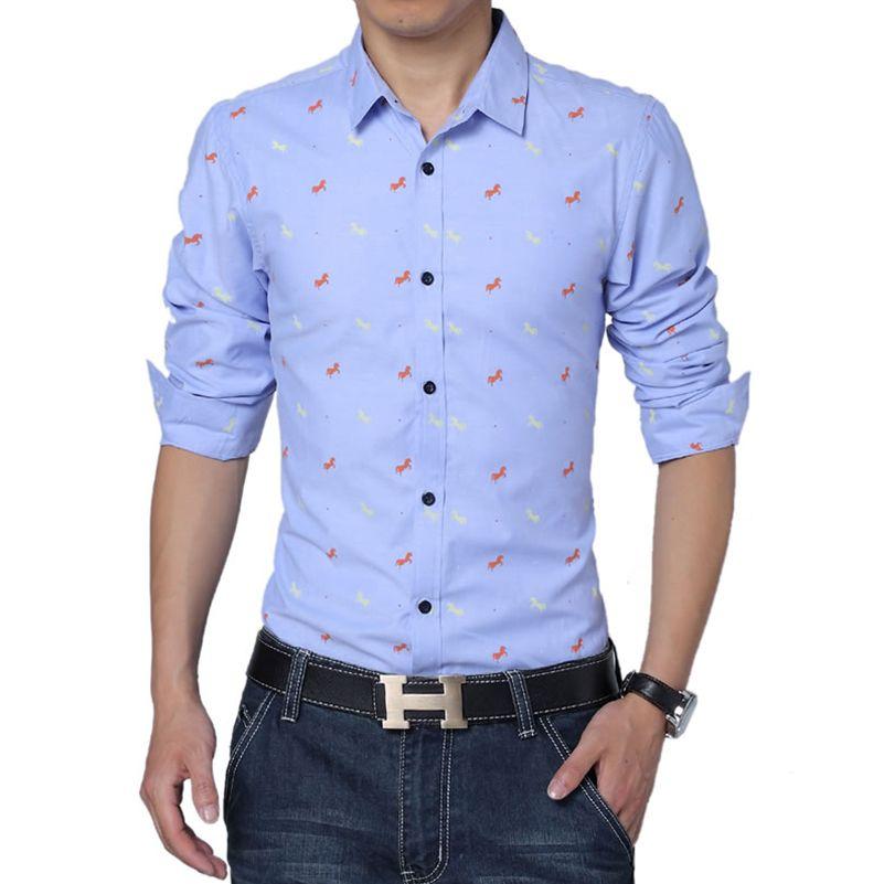d5c456bb4eb 2017 New Arrival Men Casual Shirt Fashion Cotton Printed Brand Clothing Dot  Male Shirt Long Sleeve