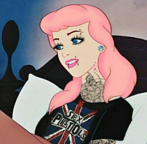 Pink Haired Tattooed And Pierced Cinderella With Images Punk