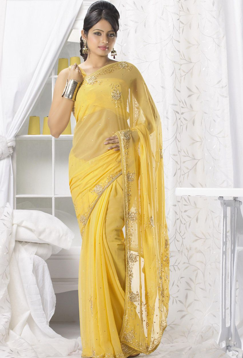 abcb58453 Yellow Chiffon  Designer  Saree  nikvik  usa  designer  australia  canada   freeshipping  saris