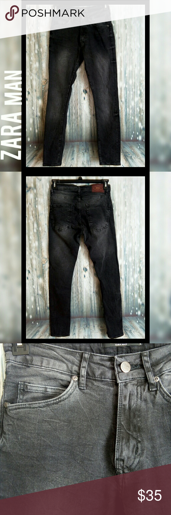 1d2e2617 Zara man denim collection black skinny jeans Zara man denim collection  Black washed skinny jeans *Like new condition Size 30 Waist 14.5