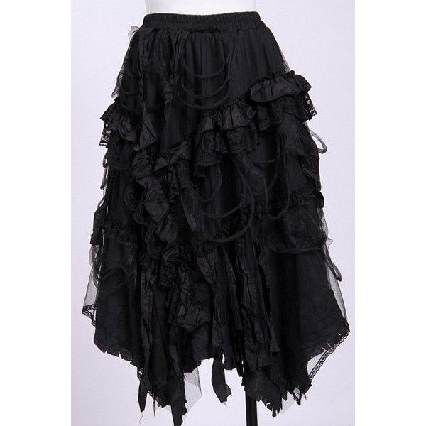 New Black Green Silk Burlesque Long Bustle Fishtail Lace Skirt Gothic Rock Party