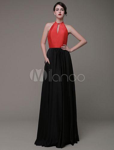 Taft Prom Kleid a-line Halfter bodenlangen Abend Kleid ...