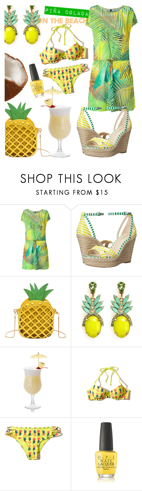 """""""Piña colada on the beach"""" by lullulu ❤ liked on Polyvore featuring Lygia & Nanny, Nine West, Elizabeth Cole, Hollister Co. and OPI"""