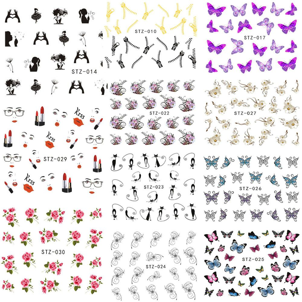 1 Sheet Flower Nail Art Decals Water Transfer Stickers Manicure ...