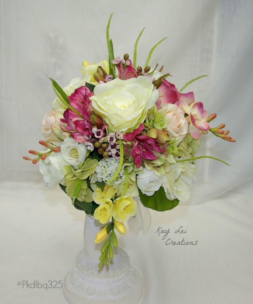 Wedding Pink White Assorted Rose Freesia Silk Flower Hand Tied