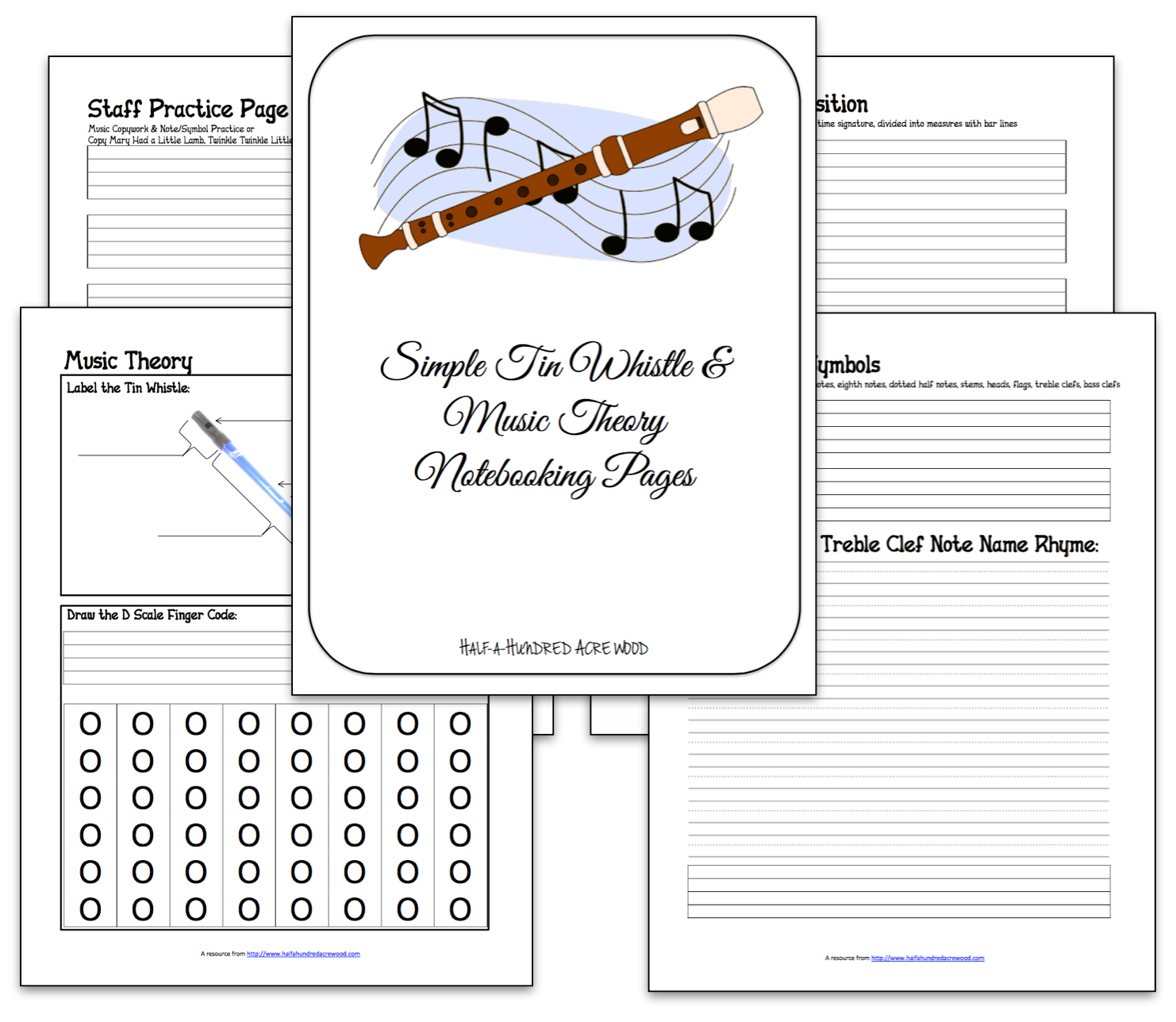 Tin Whistle Amp Music Theory Notebooking Pages