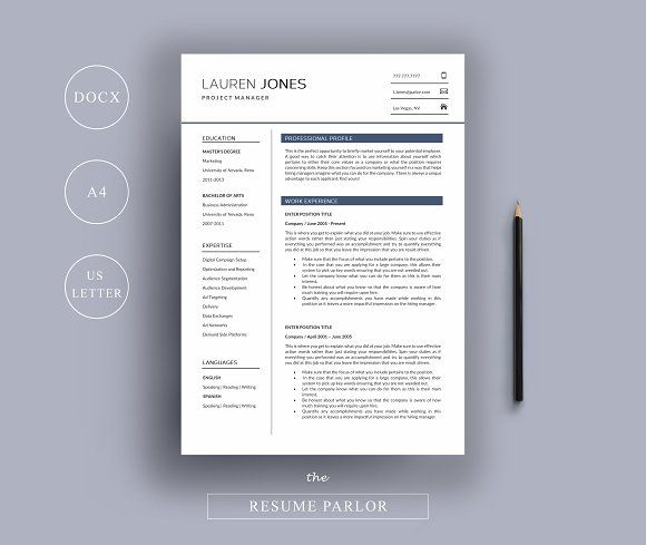 Resume 4 Page A4 + US Letter Sizes by The Resume Parlor on - media resume