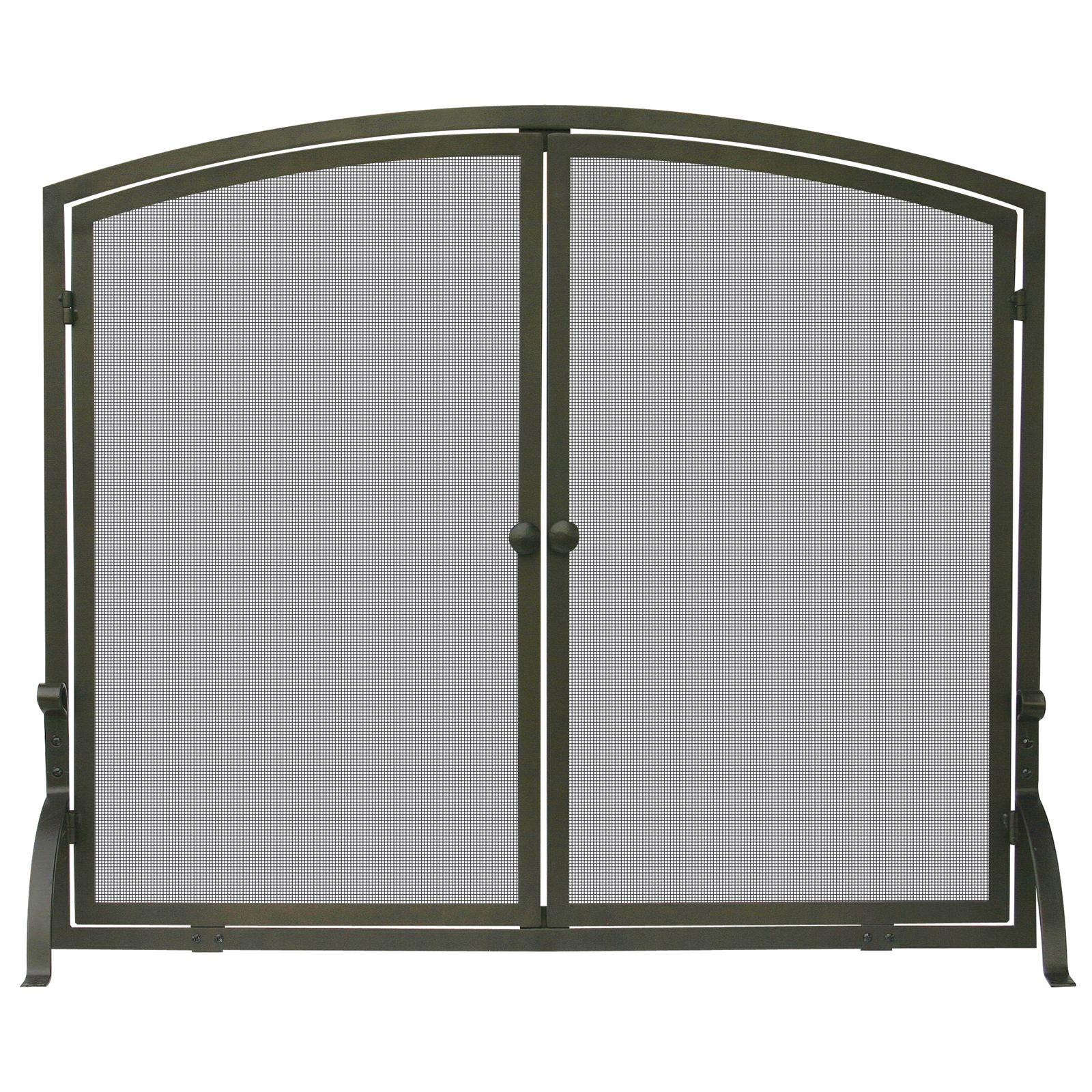 UniFlame Single Panel Bronze Finish Screen with Doors