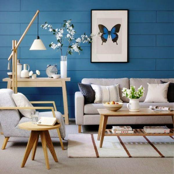 tapeten-farben-ideen-wohnzimmer-mit-blauen-wänden Wände - farbe wohnzimmer ideen