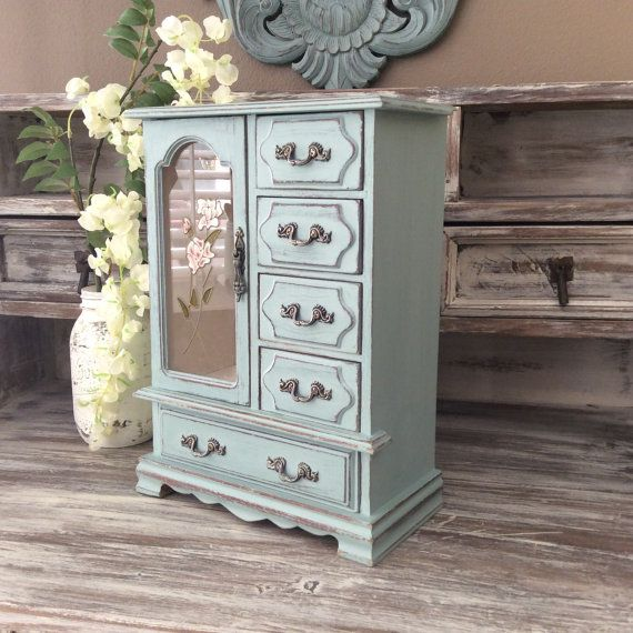 Rustic Jewelry Armoire Special Listing For Teesh Blue Jewelry Box For Sale Beach Cottage