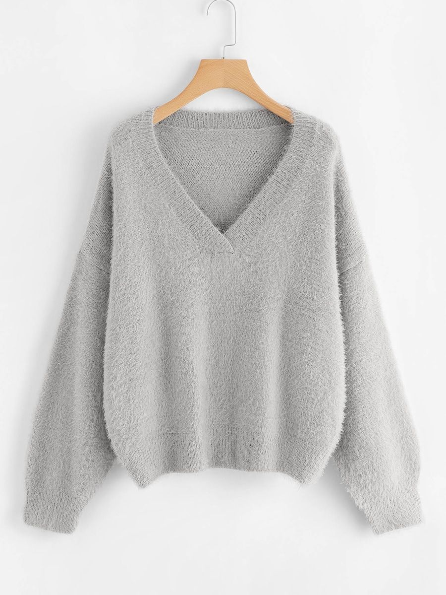 fbdb5c95130 V Neck Drop Shoulder Fuzzy Jumper -SheIn(Sheinside)